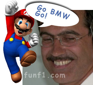 BMW's Dr Mario Theissen vs Mario from Nintendo's Super Mario Bros