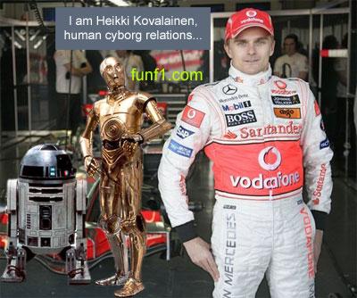 Heikki Kovalainen vs C3PO Robot